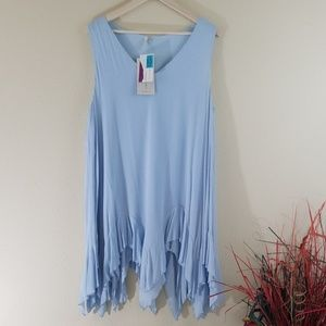 New Mittoshop Aqua Blue Boho Tunic Dress